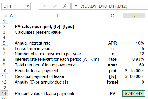 calculating present value in excel